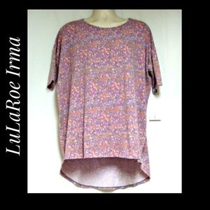 LuLaRoe Irma Tunic Floral Pink Lavender NWT'S L